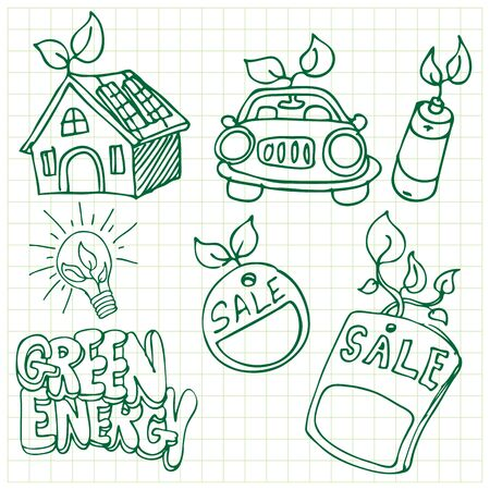 An image of a green energy icons. Vector