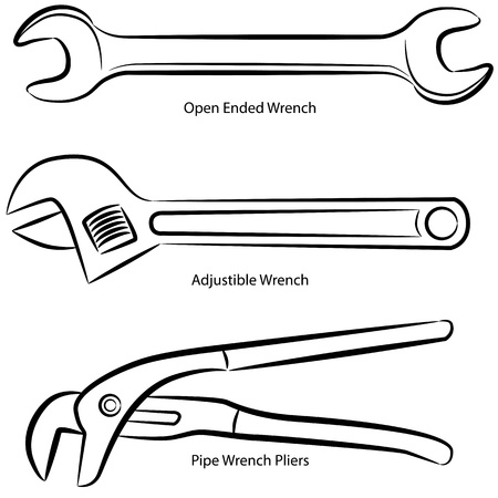 An image of a set of different types of wrenches. Ilustracja