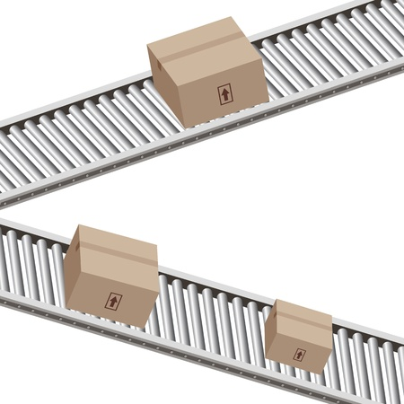 An image of a boxes on a conveyor belt. Ilustracja