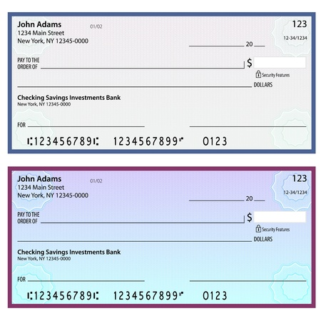 checking accounts: An image of security watermark blank checks. Illustration