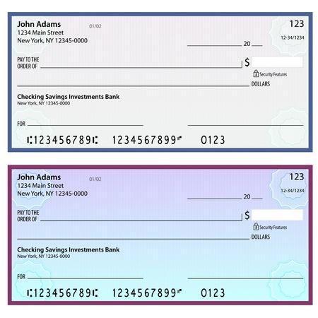 cheque en blanco: Una imagen de marca de agua de los controles de seguridad en blanco. Vectores