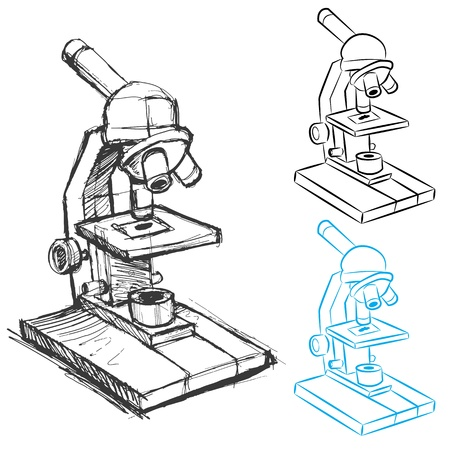 microscope: An image of a microscope sketch and line art.