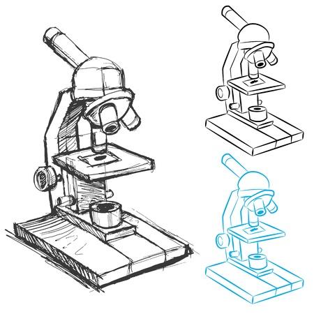 Ein Bild von einem Mikroskop Skizze und Strichzeichnungen. Standard-Bild - 13335564