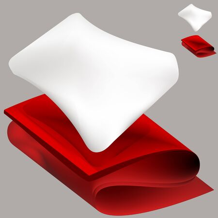 An image of a soft white pillow and a red folded blanket  Vettoriali