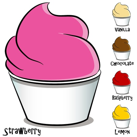 An image of a frozen yogurt ice cream set.  Vector