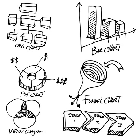 doodle art clipart: An image of a business chart object set.