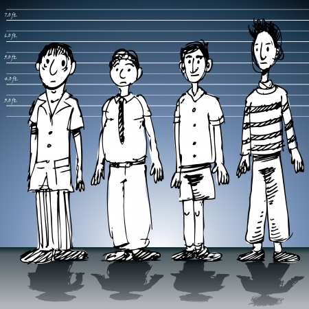 An image of a police line up wall with male suspects. Vector