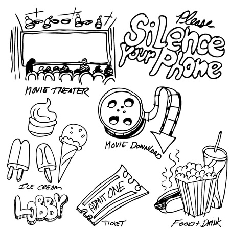 An image of a movie theater object set. Ilustrace