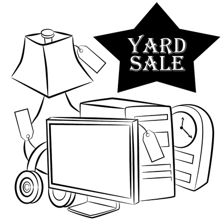 An image of a computer, lamp, headphones and clock yard sale items. Vector