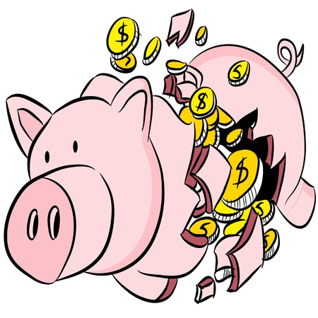 An image of a broken piggy bank. Ilustrace