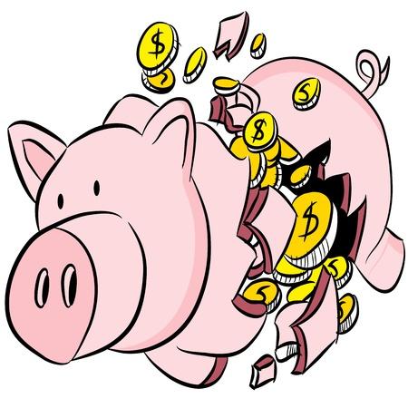 money pig: An image of a broken piggy bank. Illustration