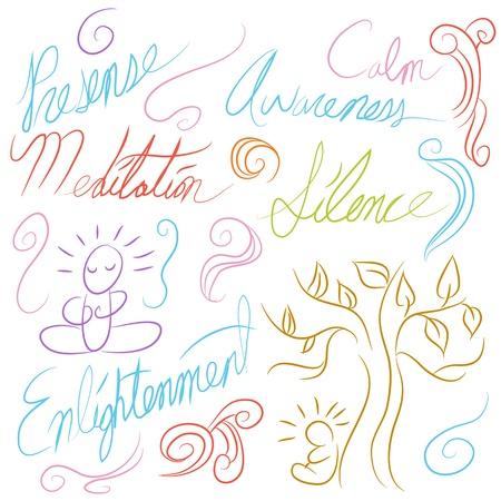 yoga meditation: An image of a meditation symbol set. Illustration