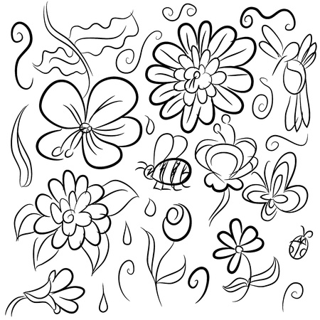 An image of a set of nature drawings. Vector