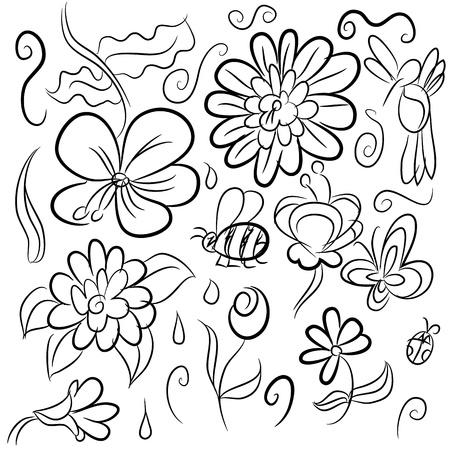 Une image d'un ensemble de dessins de la nature. Banque d'images - 14177789