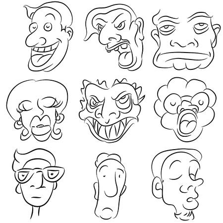 Una imagen de un conjunto de cara de dibujos animados. Ilustración de vector