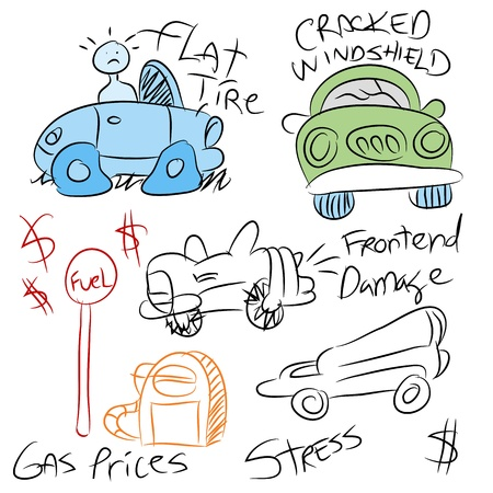 An image of a different car problems. Vector