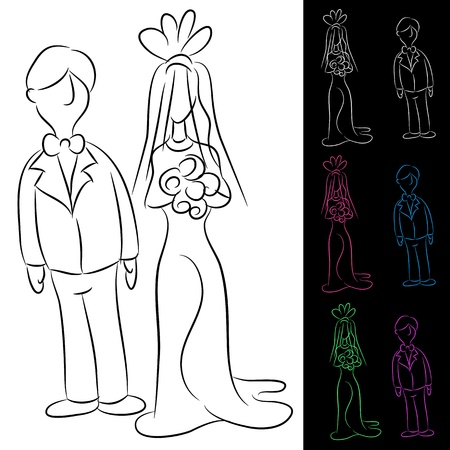 An image of a bride and groom set. Vector