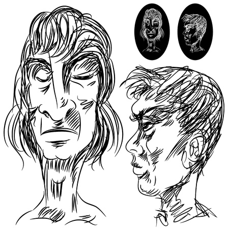 moody: An image of a set of two male moody expression faces. Illustration