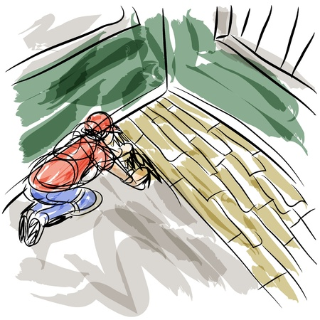 installing: An image of a man installing hardwood floors. Illustration