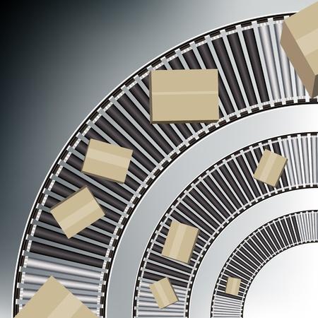 Een beeld van een boog lopende band dozen. Vector Illustratie