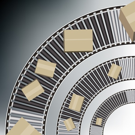 cinta transportadora: Una imagen de un cinturón de arco cajas transportadoras.