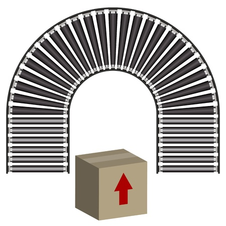 conveyor: An image of a arc conveyor belt icon and box. Illustration
