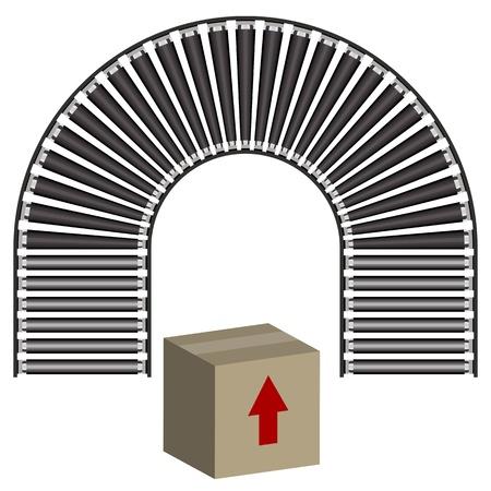 Een beeld van een boog lopende band icoon en doos. Vector Illustratie