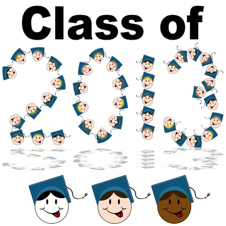 An image of a class of 2013 graduate faces. Vector