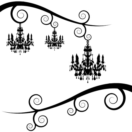 An image of a swirl branches with chandelier. Vector
