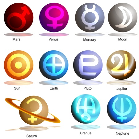 An image of a 3D planets with symbols. Vector