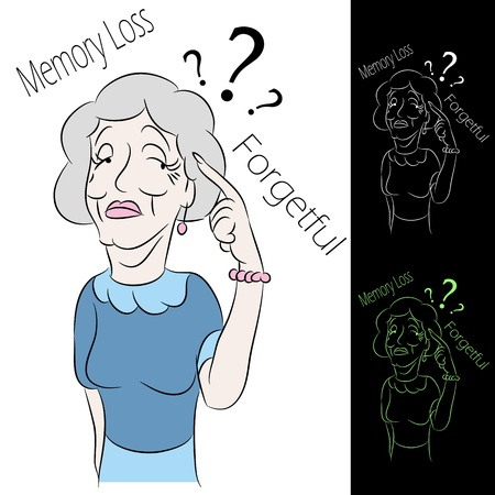 forgetful: An image of a senior woman with memory loss.