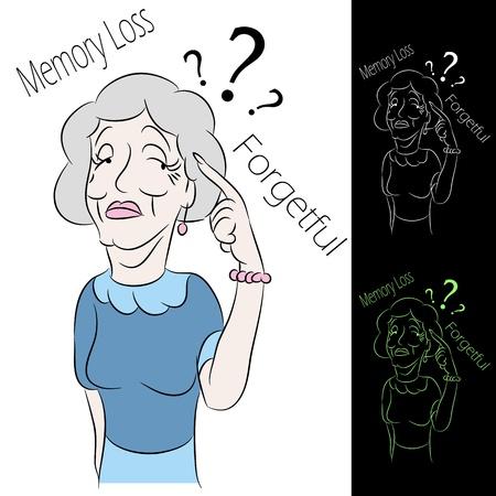 verlies: Een afbeelding van een senior vrouw met geheugenverlies. Stock Illustratie