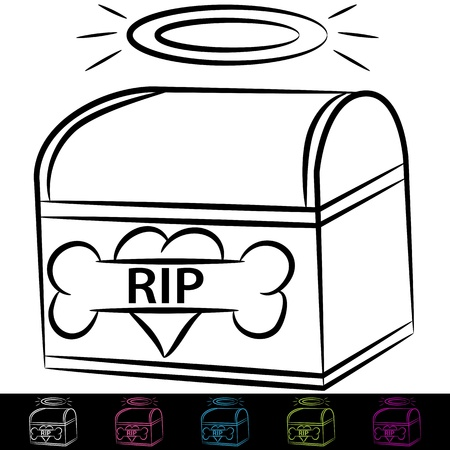 An image of a dog cremation box. Vector