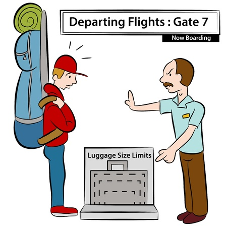 oversized: An image of a airport attendant stopping man with oversized luggage.