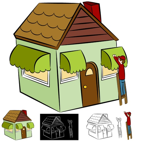 awnings: An image of a man installing awnings on a house. Illustration