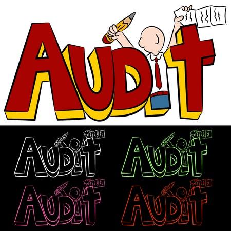 Een afbeelding van een audit tekstbericht man. Vector Illustratie