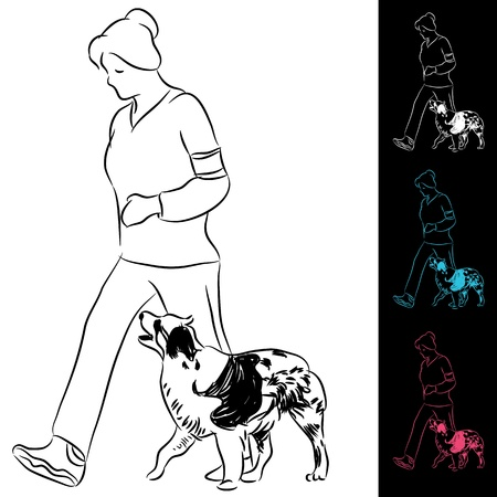An image of trainer walking a border collie dog. Vector