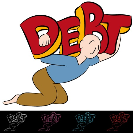 struggling: An image of a carrying a heavy debt.