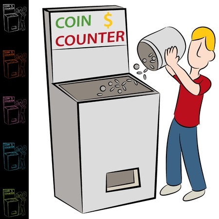 An image of a man using a coin counting machine. Stock Vector - 14504541