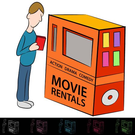 comedic: An image of a man using a movie rental machine.