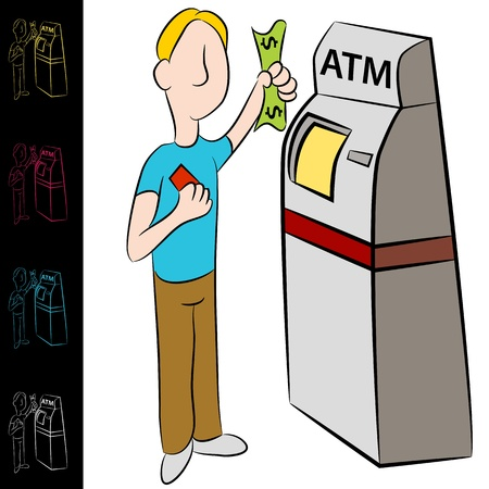 teller: An image of a man using a bank atm machine. Illustration