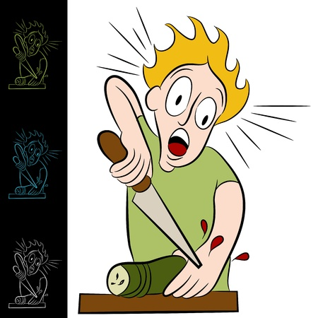 stab: An image of a man who cuts himself while chopping a vegetable. Illustration