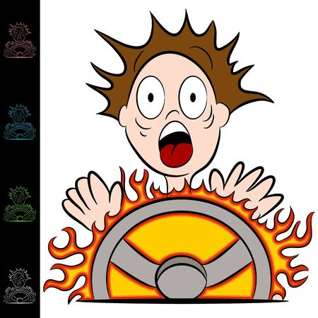 touching hands: An image of a man touching a hot steering wheel.