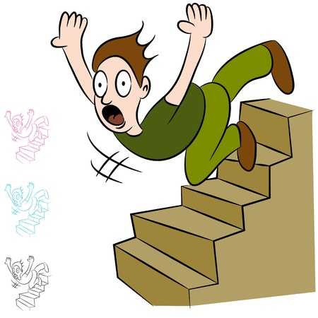 cartoon accident: An image of a man falling down a flight of stairs. Illustration
