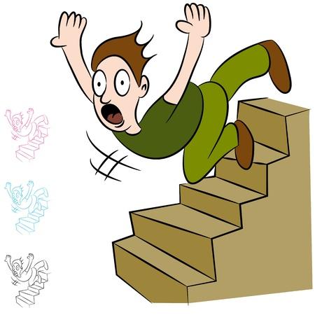 acidente: Uma imagem de um homem caindo em um lance de escadas. Ilustração