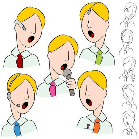 earpiece: An image of a businessman public speaker microphone set.