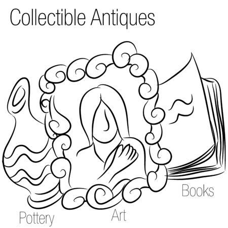 предмет коллекционирования: Изображение рисунка коллекционные предметы антиквариата. Иллюстрация