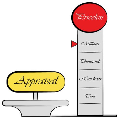 An image of am appraisal meter drawing. Vector