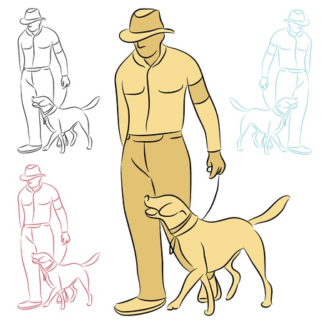 An image of a man training his dog. Vector