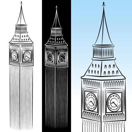 An image of a big ben clock tower drawing set. Vector